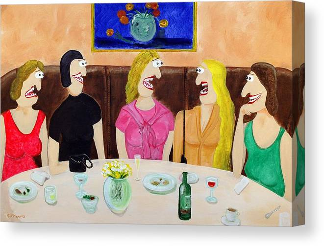 Funism Paintings Canvas Print featuring the painting Girls Night Out by Sal Marino