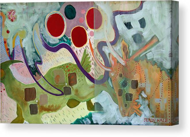 Abstract Expressionist Dream-surreal Canvas Print featuring the painting Goat Squad by Eileen Hale