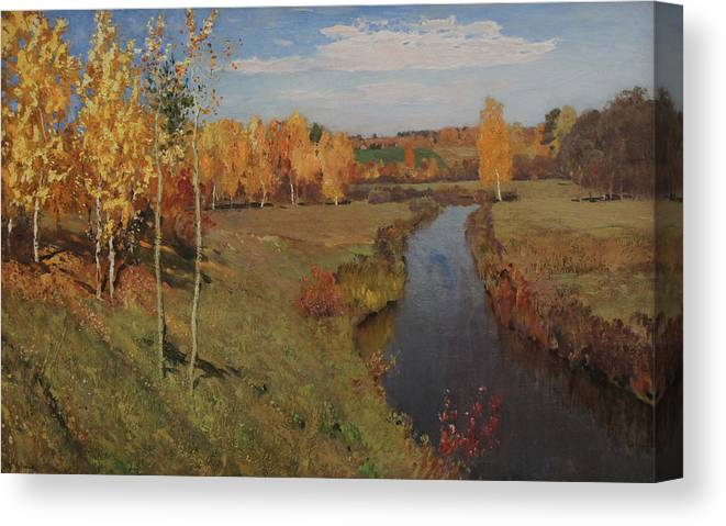 Isaac Levitan Canvas Print featuring the painting Golden Autumn by Isaac Levitan