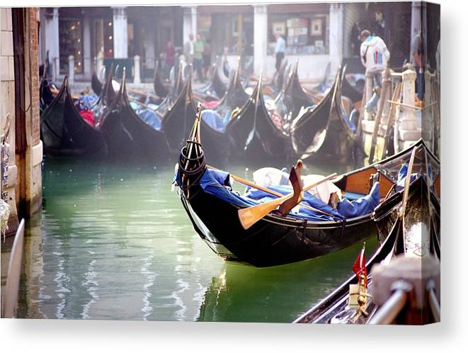 Venice Canvas Print featuring the photograph Gondola In Venice In The Morning by Michael Henderson