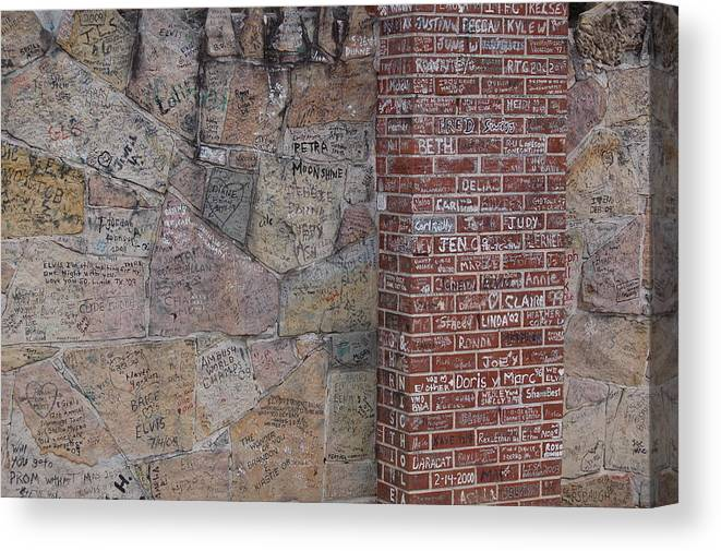 Elivis Presley Canvas Print featuring the photograph Graffiti Wall Graceland Memphis Tennessee by Wayne Higgs