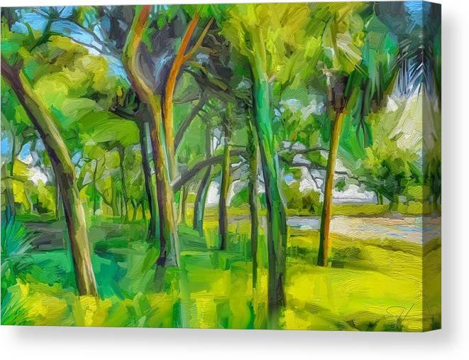 Green Shore Trees Landscape Florida Trees Canvas Print featuring the digital art Green Shore Trees by Scott Waters