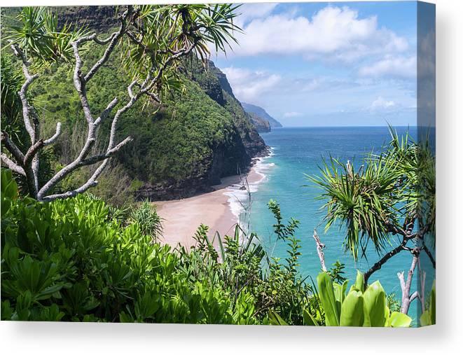 Na Pali Coast Canvas Print featuring the photograph Hanakapiai Beach by Brian Harig