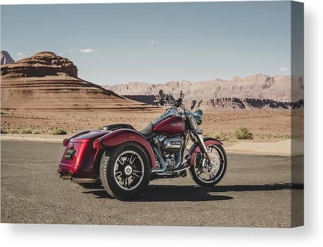 Harley-davidson Freewheeler Canvas Print featuring the digital art Harley-Davidson Freewheeler by Super Lovely