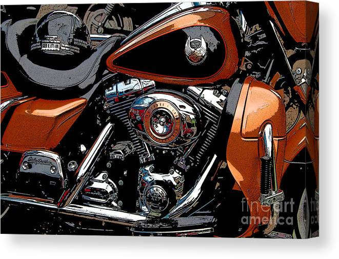 Diane Berry Canvas Print featuring the photograph Leather and Chrome by Diane E Berry