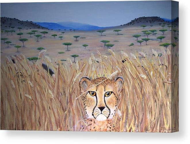 Cheetah Canvas Print featuring the painting Illusion 01 by Tammy Dunn
