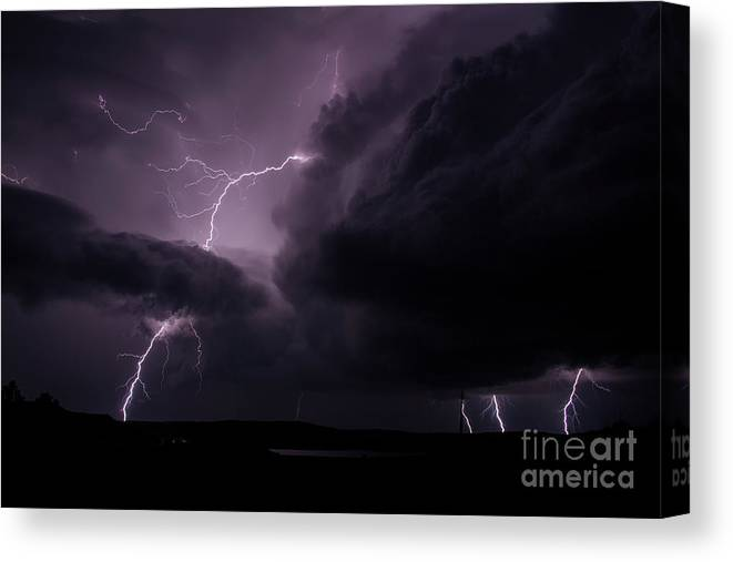 Lightning Canvas Print featuring the photograph Impressive Lightning by Francis Lavigne-Theriault