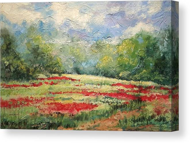 Clover Pastures Canvas Print featuring the painting Into the Clover by Ginger Concepcion