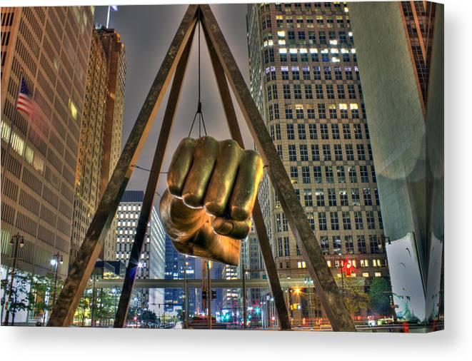 Dj Just Nick Canvas Print featuring the digital art Joe Louis Fist Detroit MI by Nicholas Grunas