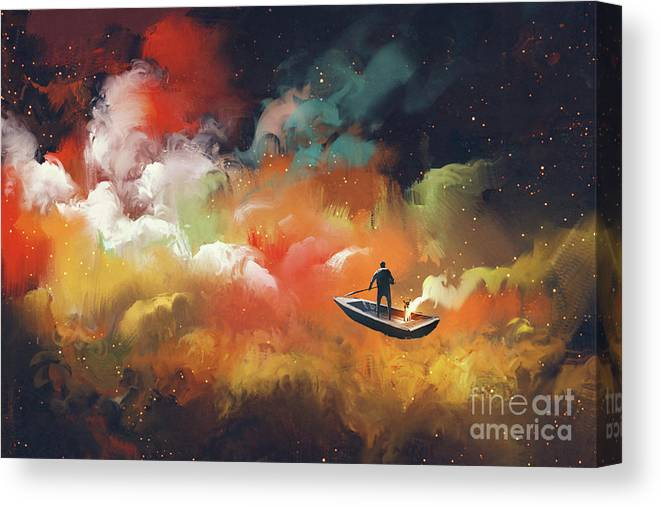 Art Canvas Print featuring the painting Journey To Outer Space by Tithi Luadthong