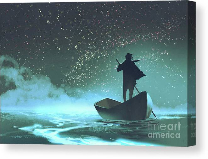Acrylic Canvas Print featuring the painting Journey to the New World by Tithi Luadthong