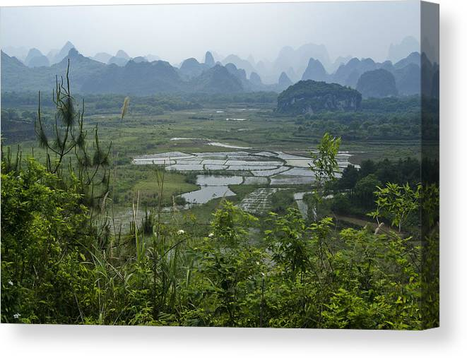 Asia Canvas Print featuring the photograph Karst Landscape of Guangxi by Michele Burgess