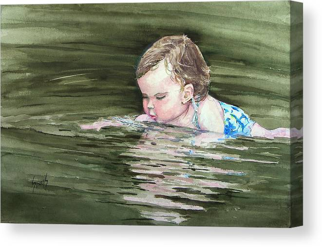 Child In River Canvas Print featuring the painting Katie Wants A River Rock by Sam Sidders