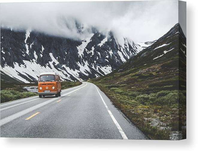 Hippy German Car Canvas Print featuring the photograph Living the dream by Aldona Pivoriene