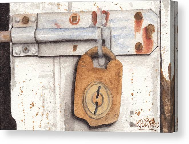 Rust Canvas Print featuring the painting Lock And Latch by Ken Powers