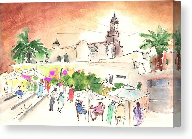 Travel Canvas Print featuring the painting Market In Teguise In Lanzarote 02 by Miki De Goodaboom