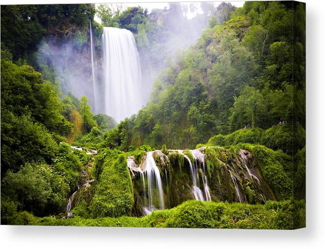 Italy Canvas Print featuring the photograph Marmore Waterfalls Italy by Marilyn Hunt