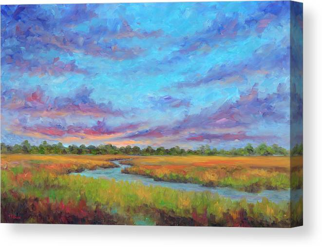 Folly Beach Canvas Print featuring the painting Marsh view from Morris Island - Folly Beach by Jeff Pittman
