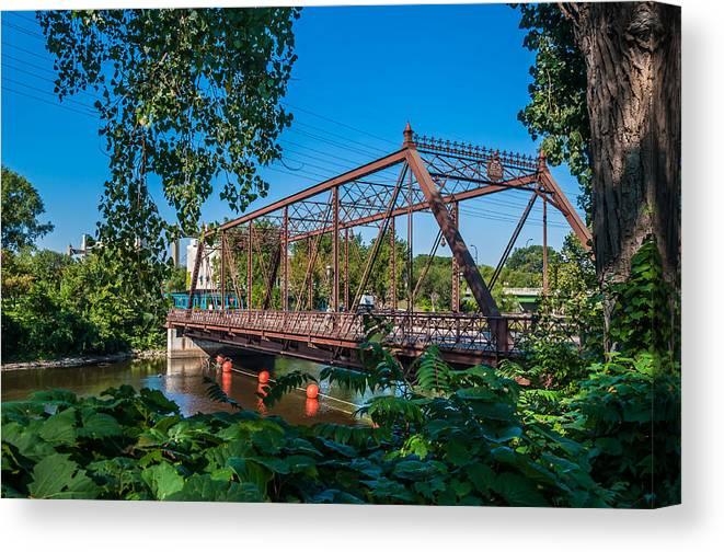 Merriam Street Bridge; Bridge; St. Anthony Riverplace; Minneapolis Canvas Print featuring the photograph Merriam Street Bridge by Lonnie Paulson