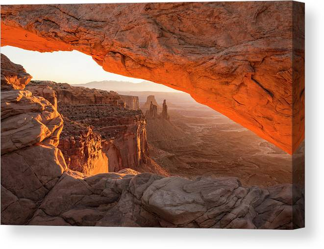 Mesa Arch Sunrise Canyonlands National Park Moab Utah Canvas Print featuring the photograph Mesa Arch Sunrise 5 - Canyonlands National Park - Moab Utah by Brian Harig