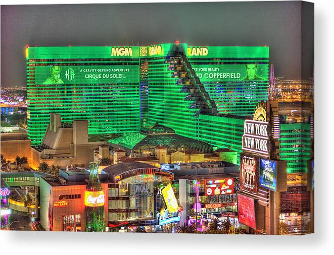 Mgm Grand Canvas Print featuring the photograph MGM Grand Las Vegas by Nicholas Grunas