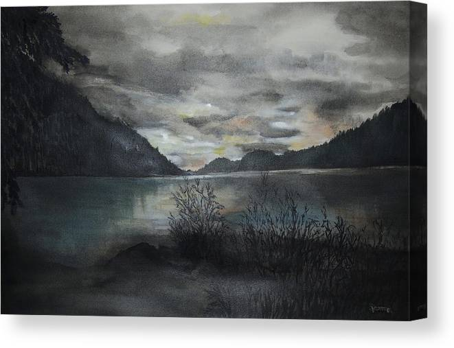 Sunset Canvas Print featuring the painting Missezula Lake Sunset by Susan Moore