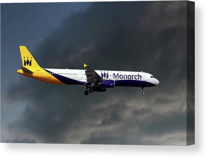 Monarch Airlines Canvas Print featuring the photograph Monarch Airlines Airbus A321-231 by Smart Aviation