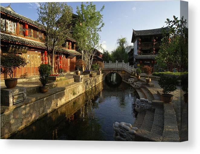 Asia Canvas Print featuring the photograph Morning Comes to Lijiang Ancient Town by Michele Burgess