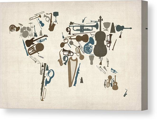 World Map Canvas Print featuring the digital art Musical Instruments Map of the World Map by Michael Tompsett