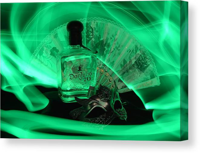 Bottle Canvas Print featuring the photograph Mystique Green by Paulina Roybal