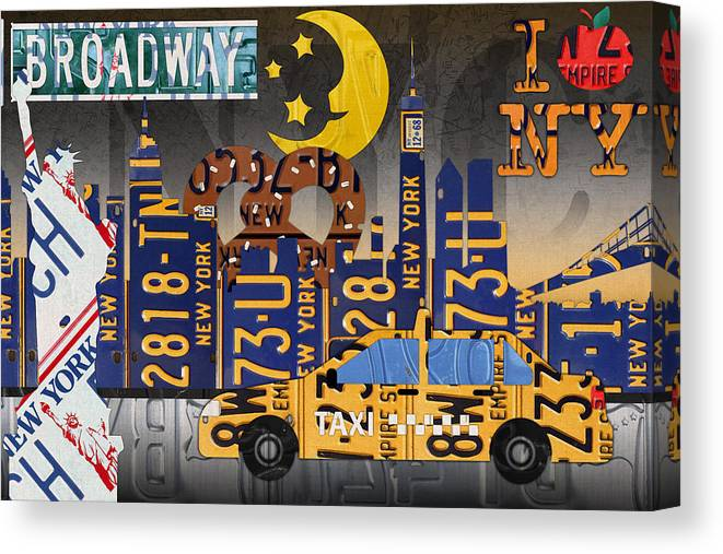 New York City Canvas Print featuring the mixed media New York City Nyc The Big Apple License Plate Art Collage No 2 by Design Turnpike