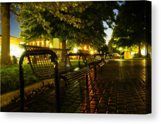 Night Canvas Print featuring the photograph Night Bench by Carl Perry