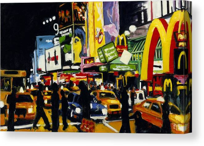 New York Canvas Print featuring the painting NYC II The Temple of M by Robert Reeves