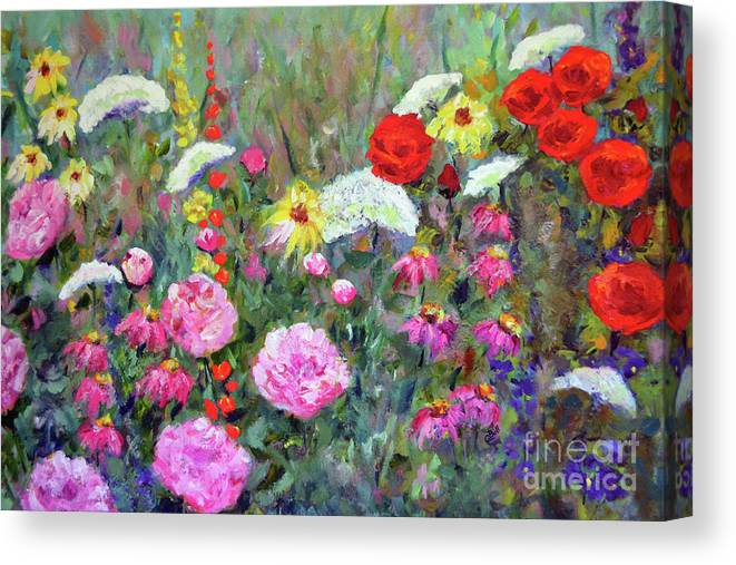 Flowers Canvas Print featuring the painting Old Fashioned Garden by Claire Bull