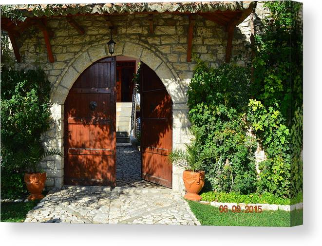 Canvas Print featuring the photograph Old House Door by Nuri Osmani