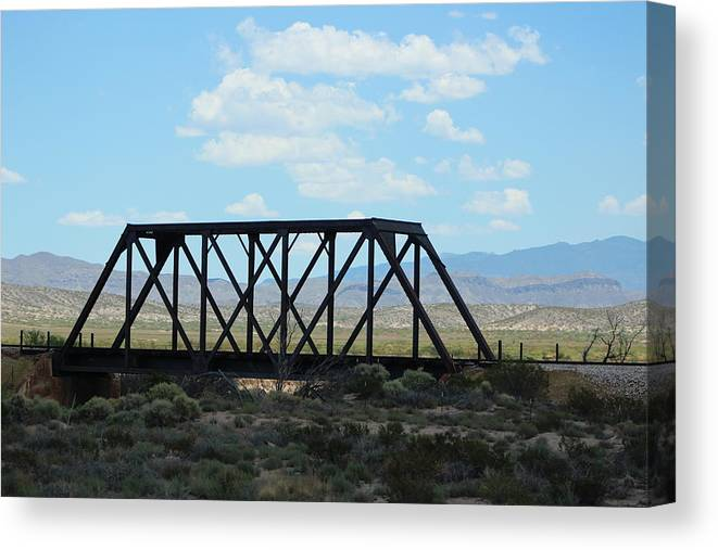 Steel Bridge Canvas Print featuring the photograph Old Steel Bridge New Mexico Countryside by Colleen Cornelius