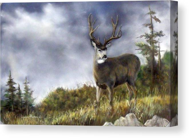 Trophy Mule Deer Canvas Print featuring the painting One Lonely Mule Deer by Lynne Parker