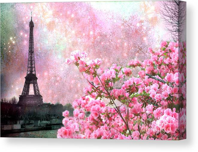 Pink Flowers And Paris Eiffel Tower 5 Panel Canvas Print Wall Art