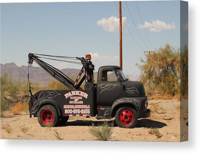 Vintage Tow-truck Canvas Print featuring the photograph Parker Towing Tow-truck by Colleen Cornelius