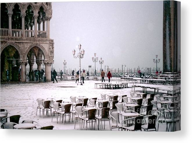 Venice Canvas Print featuring the photograph Piazzetta San Marco In Venice In The Snow by Michael Henderson