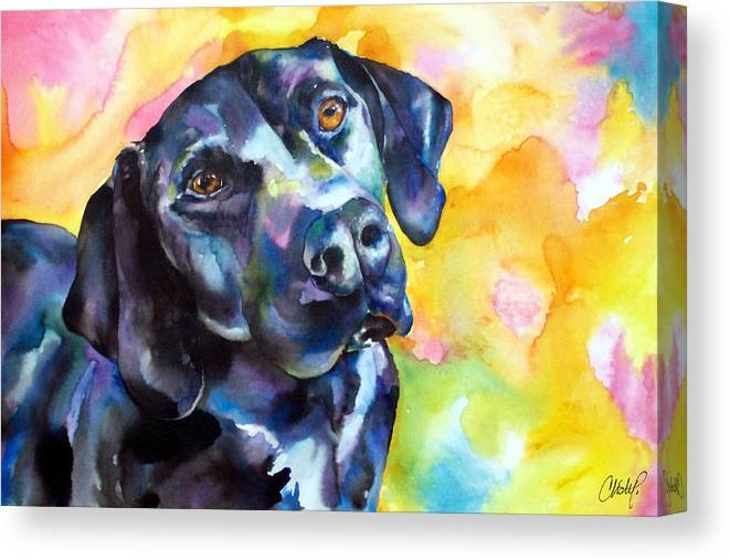 Black Lab Canvas Print featuring the painting Pixie Dog - Black Lab by Christy Freeman Stark