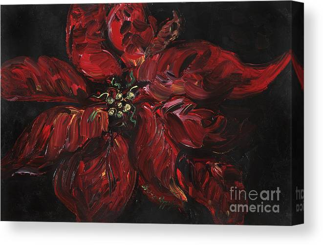 Abstract Canvas Print featuring the painting Poinsettia by Nadine Rippelmeyer