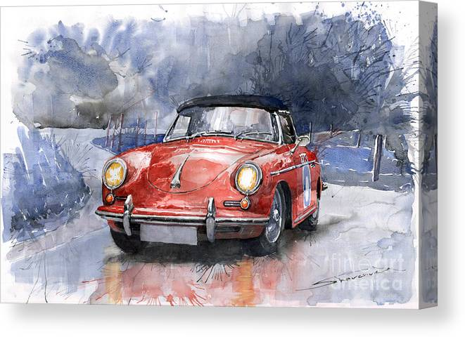 Auto Canvas Print featuring the painting Porsche 356 B Roadster by Yuriy Shevchuk