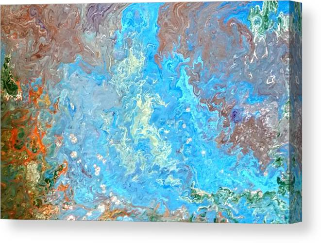 Acrylic Pour Canvas Print featuring the painting Siskiyou Creek by Valerie Josi