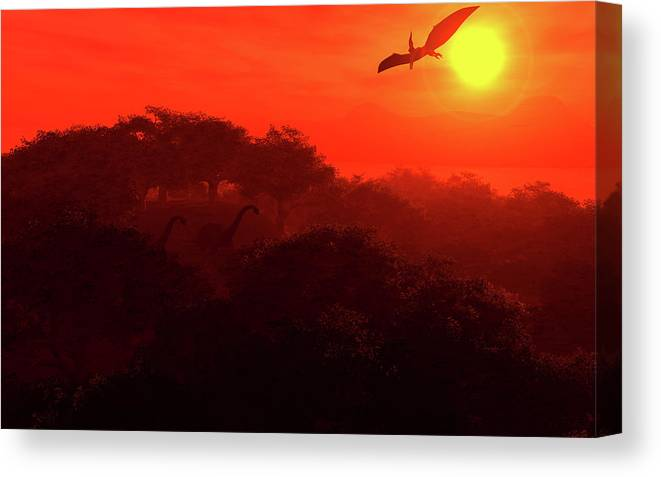 Fantasy Canvas Print featuring the digital art Prehistoric Dawn by David Lane
