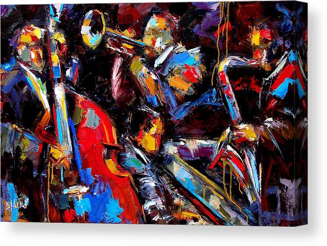 Jazz Paintings Canvas Print featuring the painting Quartet by Debra Hurd