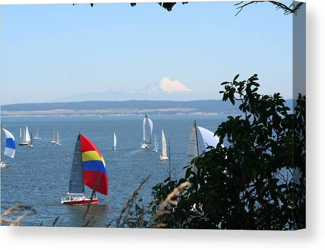 Sailboats Canvas Print featuring the photograph Race Week 2008 BO1053 by Mary Gaines