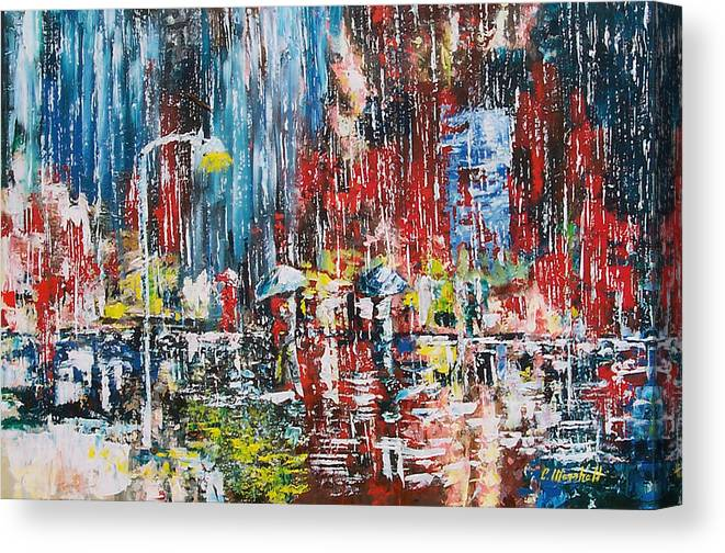 Landscape Canvas Print featuring the painting Rain by Claude Marshall
