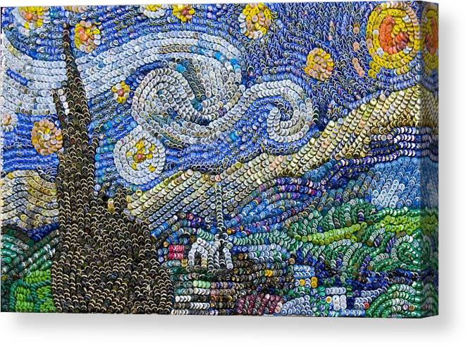 Recycled Art Canvas Print featuring the mixed media Recycled Night by Aaron Buehring