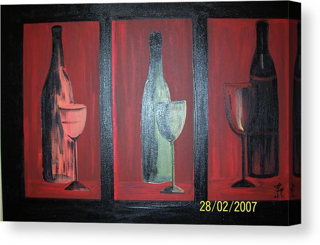 Stilllife Canvas Print featuring the print Red wine by Martha Mullins